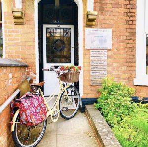 Evesham place Dental entrance with bike